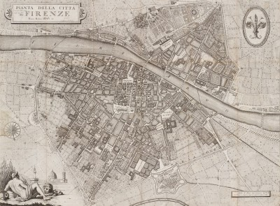 City Map of Florence English, c.1840, Engraving on Parchment