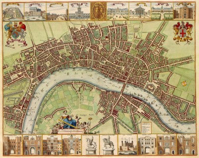 17th Century Map of London, c.1640, Engraving on Parchment