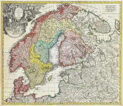 Scandinavia, Including Denmark, Norway, Sweden, Finland and the Baltic States, c.1730, Engraving on Parchment