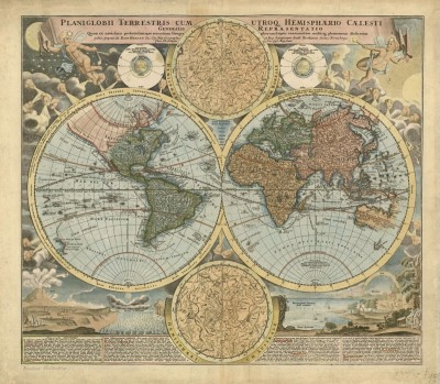 Terrestrial and Hemispherical World Map, c.1700, Engraving on Parchment
