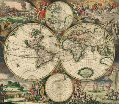 A New Map of the Whole World, c.1689, Engraving on Parchment