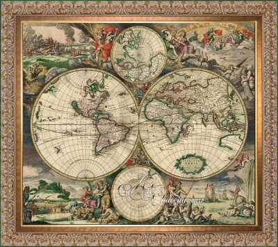 Baroque Engraving of World Map, after Gerrit Lucasz van Schagen