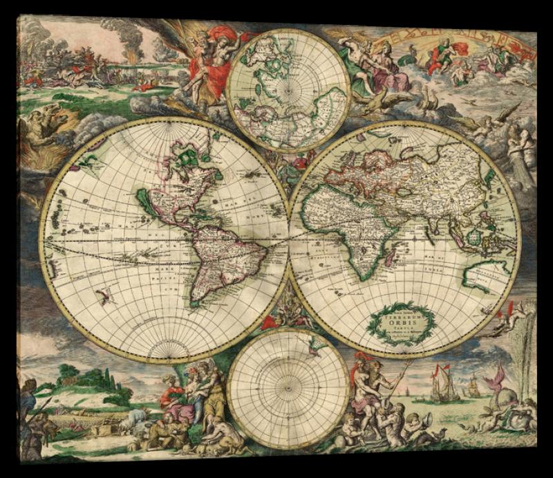 Baroque Engraving of World Map, after Gerrit Lucasz van Schagen