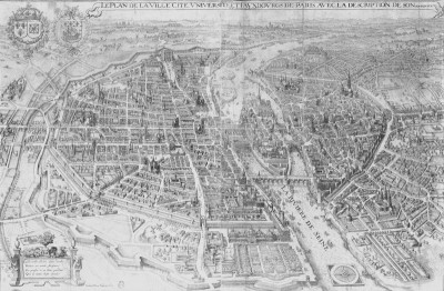 17th Century City Plan of Paris, c.1630, Engraving on Parchment