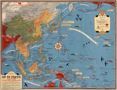 World War II Map of the Pacific and the Far East, c.1944, Print on Parchment