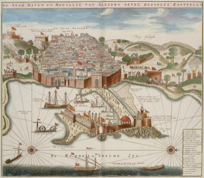 Port of Algiers During the Ottoman Regency, c.1720, Colored Pencil on Parchment