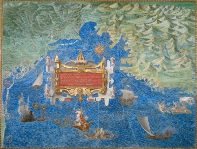 Map of Lagoon of Venice, Friuli, and Istria Italy, c.1582, Fresco