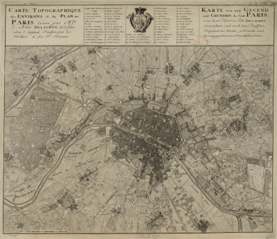 Map of Paris and its vicinity, c.1735, Engraving on Parchment