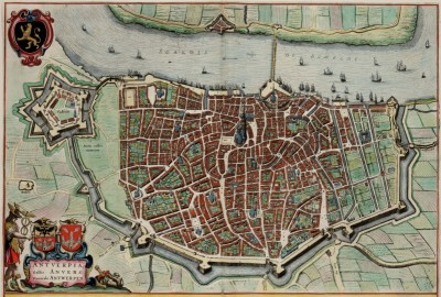 17th Century View of Antwerp, c.1649, Printed on Parchment