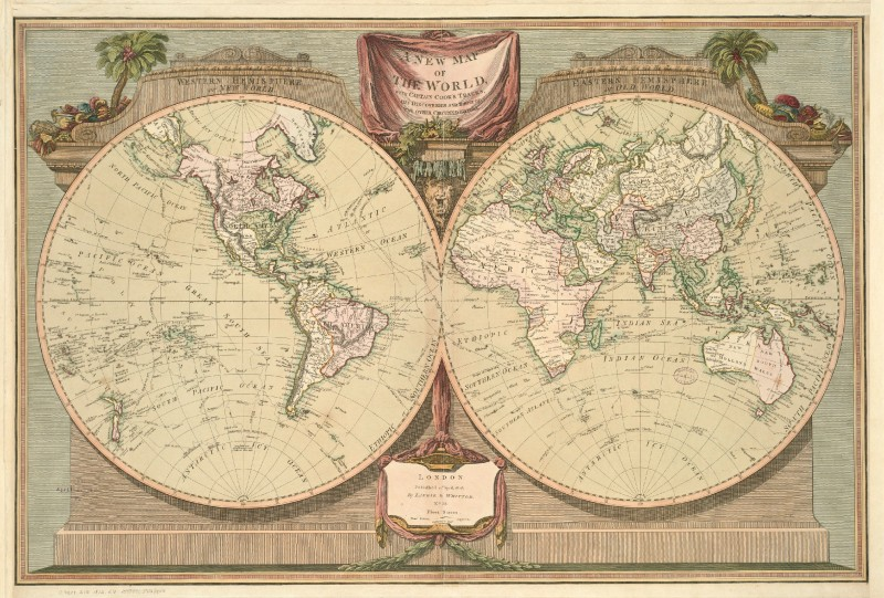 Laurie and whittle new world map with captain cooks discoveries new world map with captain cooks discoveries c1812 copy rolled canvas publicscrutiny Choice Image