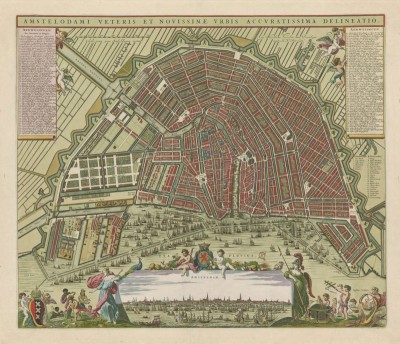 17th Century Hand-Coloured Map of Amsterdam, c.1678, Engraving on Parchment