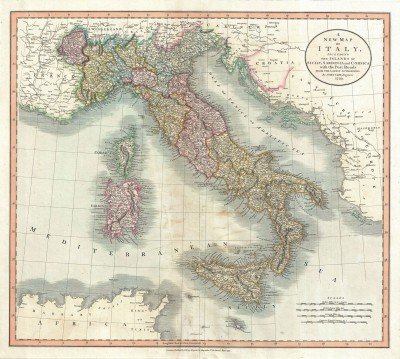 18th Century Map of Italy, c.1799, Engraving on Parchment