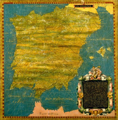 Map of Spain, c.1578, Oil Painting on Wood