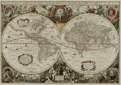 The New Hemispherical Map of the World, c.1680, Engraving on Parchment