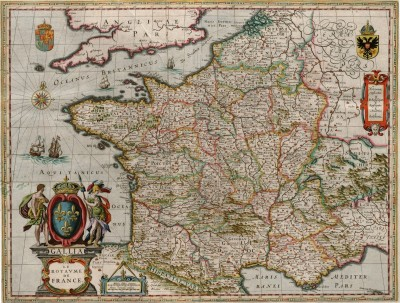 Gallia, (France) from the Theater du Monde, or Nouvel Atlas, c.1660, Engraving on Parchment