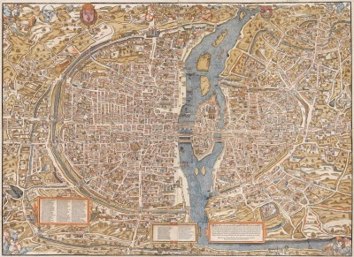 Map of Paris, France, c.1550, Engraving on Wood Panel