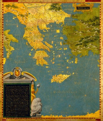 Hellenic Peninsula, Greece, Albania, Bosnia, c.1578, Oil Painting on Wood