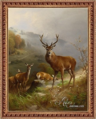 Mountain Red Deer, after German artist Anton Schmitz