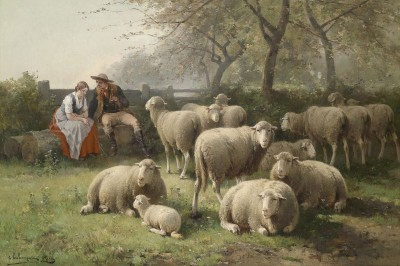 Couple Resting beside a Flock of Sheep, c.1886, Oil on Canvas