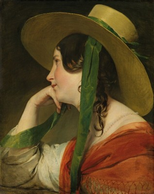 Girl with Straw Hat, c.1835, Oil on Canvas