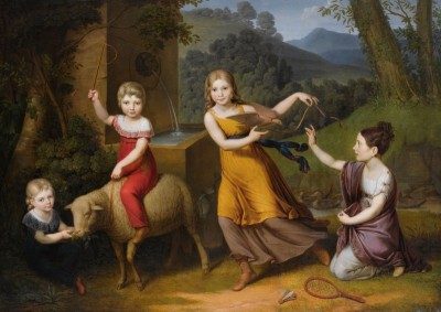 The Children of Anton Peeter with Sheep and Turtle Doves, c.1828, Oil on Canvas