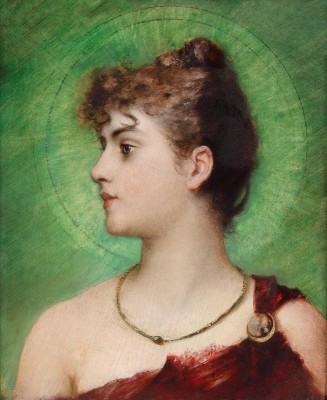Profile of Girl with Gloriole, c.1880, Oil on Canvas