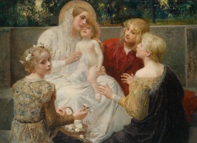 Madonna with Jesus Surrounded by Children, c.1896, Oil on Canvas