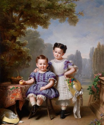 Two Children in a Park Landscape, c.1855, Oil on Canvas
