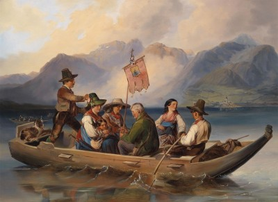 Crossing the Wolfangsee, c.1850, Oil on Canvas