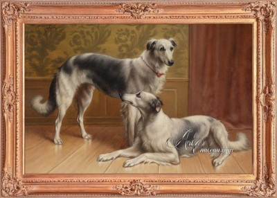 British Heritage Design painting, Two GrayHounds