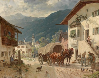 Stopping at the Inn, c.1918, Oil on Canvas
