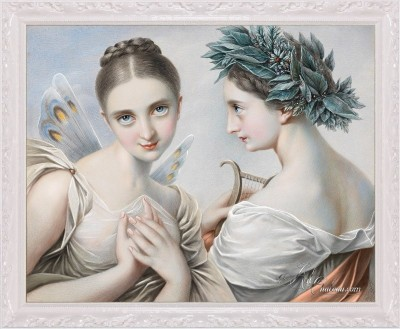 The Two Muses, after Austrian artist Carl Agricola