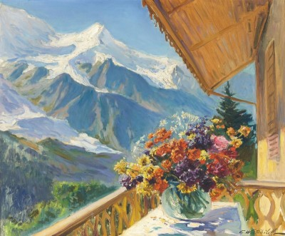 Mont Blanc, Switzerland, c.1910, Oil on Canvas