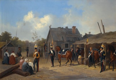 Soldiers Bivouacking in a Village, c.1843, Oil on Canvas