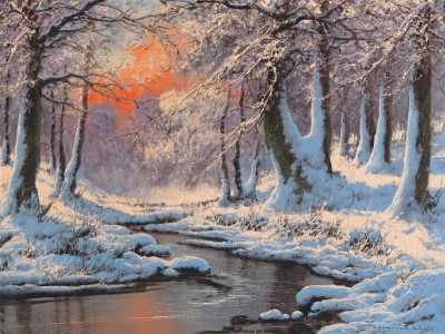 Winter Landscape with River at Sunset, c.1931, Oil on Canvas