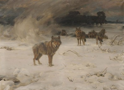 Wolves in a Snowstorm, c.1890, Oil on Canvas