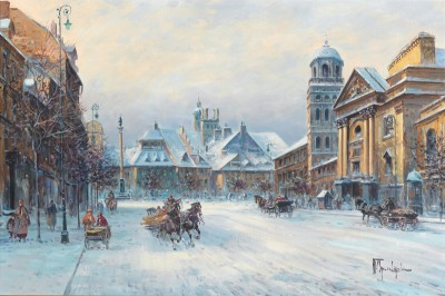 Scene of Warsaw in Winter, c.1952, Oil on Canvas
