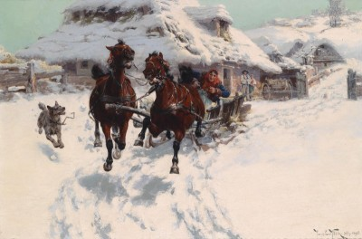 High-Speed Sleigh Ride, c.1896, Oil on Canvas