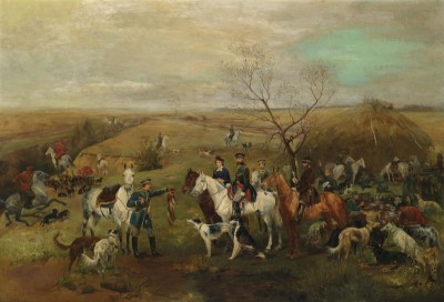 Hunting Party with Tsar Alexander III Fox Hunting, c.1886, Oil on Canvas