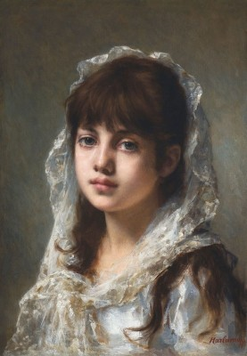 Portrait of a Young Girl Wearing a White Veil, c.1890, Oil on Canvas