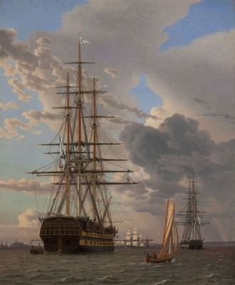 The Russian Ship of the Assow Line and a Frigate at Anchor in the Roads of Elsinore, c.1828, Oil on Canvas