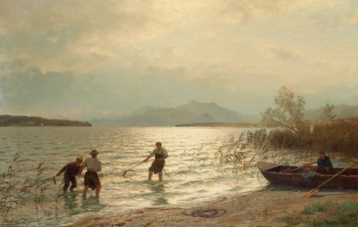 Fishing by the Sea Shore, c.1900, Oil on Canvas