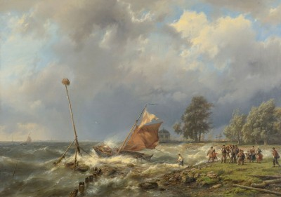 Fighting the Wind, c.1860, Oil on Canvas