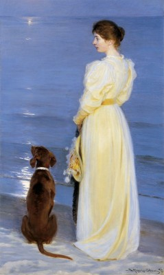 Summer Evening at Skagen, The Artist's Wife and Dog by the Shore, c.1892, Oil on Canvas