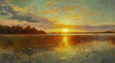 Sunset over a Danish Lake, c.1901, Oil on Canvas