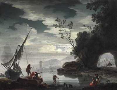 Mediterranean Landscape with Fisherman in Moonlight, c.1748, Oil on Canvas