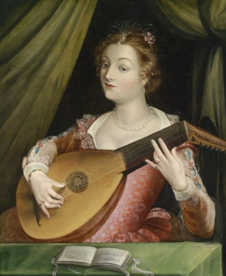 Young Woman Playing a Lute, c.1730, Oil on Canvas