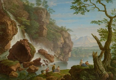 Bathers near a Waterfall, c.1750, Oil on Canvas