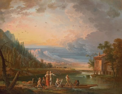 An Arcadian Landscape with Fishermen, c.1780, Oil on Canvas