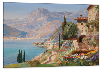 A View of Varenna on Lake Como, c.1910, Oil on Canvas